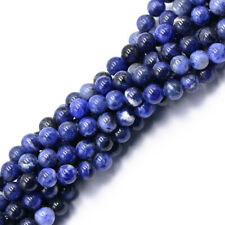 "8mm 6mm 4mm Sodalite Beads Round Faceted Gemstone Beads 15"" For Jewelry Making"