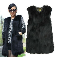 Winter Real Farm Fox Fur Gilet Grace Women Long Vest Coat Jacket Outerwear