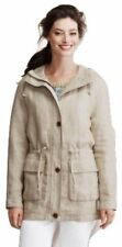 Lands End Beige Heavy Linen Long Line Hooded Jacket with Drawstring Waist