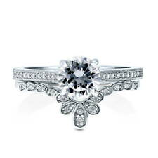 BERRICLE Sterling Silver Round CZ Solitaire Engagement Ring Set 1.255 Carat