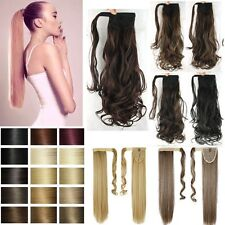 US Clearence Clip In Ponytail Hair Extensions Wrap Around Pony Tail Real Natural