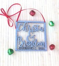 personalized ornament, personalized name ornament, christmas wedding ornament, f