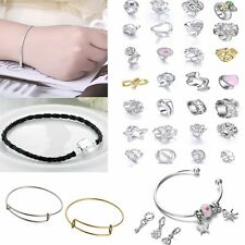 Women Charms Beads Pendant  Leather Wrap Cuff Snake Bones Bracelet Bangle Gift