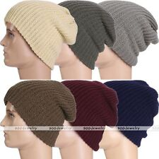 6 Colors Winter Unisex Beanie Chunky Ribbed Knit Skully Ski Cap Snowboard Hat