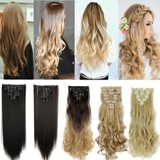 Lady New Arrival Premium 8 Piece Clip in Hair Extensions Full Head Long Wavy US
