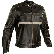 Xelement Men's Charcoal Dark Brown Leather Armored Motorcycle Jacket