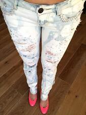 cutout JEANS DESTROYED RIPPED DISTRESSED WOMEN SKINNY STONE ACID WASH DENIM