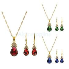 Women Gold Plated Crystal Bridal Wedding Prom Jewelry Sets Necklace Earrings Set