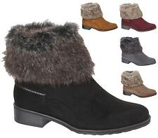 NEW WOMENS LADIES FLAT LOW HEEL FAUX FUR WINTER ANKLE BOOTS WARM FLEECE SIZE