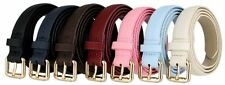 Women's Matte Skinny Snake Skin Embossed Leather Casual Dress Belt Roller Buckle