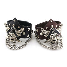 Punk Rock Men Pirate Skull Link Chain PU Leather Bracelet Cuff Wristband Gothic