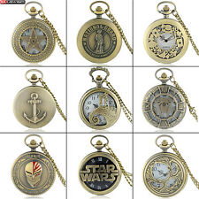 Antique Steampunk Quartz Pocket Watch Pendant Vintage Bronze Necklace Chian Gift