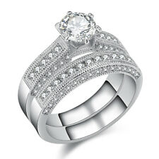 Round CZ 925 Sterling Silver White Gold Plated Engagement Ring Wedding Band Set