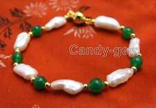SALE 12-15mm Baroque White Natural pearl and 6mm Green Jade 7.5'' Bracelet-br330