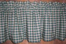 Green and Tan Checked Plaid Homespun Valance Primitive Country Curtains Runner
