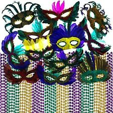FX Mardi Gras pack of 60 - Mardi Gras Carnival Beads (36) & Feather Masks (12)