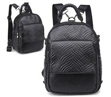 BLACK RUCKSACK QUILTED STITCHED RETRO BACKPACK SCHOOL FASHION GIRLS SHOULDER BAG