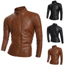 Stylish Men's Coat Casual Outwear PU Leather Simple Motorcycle Short Jacket