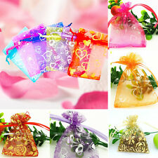 Hot 100X Organza Gold Stamp Classical Sheer Jewelry Candy Wedding Pouch Gift Bag