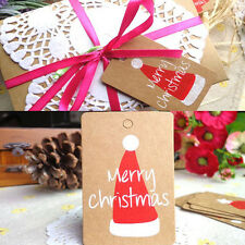 50PCs Chic Various Pattern Merry Christmas Gift Cards Kraft Paper Marker Tags