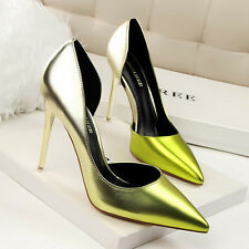 Lady Slim High Heels OL Stiletto Pointed Toe PU Pumps Color Gradient Women Shoes