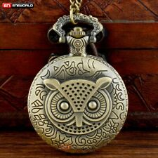 Vintage Bronze owl Antique Pocket Watch Chain Quartz Necklace Pendant Gift New