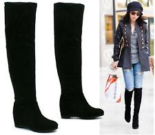 LADIES BLACK SUEDE MID HEEL WEDGE OVER THE KNEE SOFT SUEDE STRETCH BOOTS SHOES