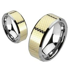 NEW MENS or WOMENS TUNGSTEN TWOTONE GOLD LASER WEDDING RING 5 6 7 8 9 11 12 13