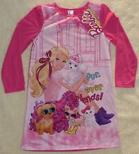 Barbie Pink Fur-ever Friends Long Sleeved Girls Nightgown Size 4, 5, 6, 6X New