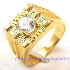 Size 8,9,10 Ring,REAL HANDSOME MEN 18K YELLOW GOLD GP GEMSTONE SOLID FILL 1000r
