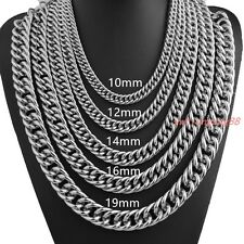 Cool Heavy Mens Boys Silver Tone Curb Chain Stainless Steel Necklace or Bracelet