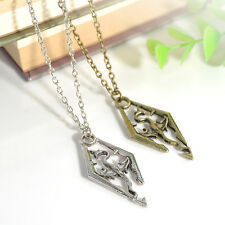 Fashion The Elder Scrolls Logo Skyrim Dragon Charms Pendant Cool Chain Necklace