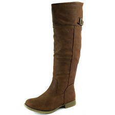 Women Knee High Round Toe Buckle Strap Military Combat Rider Boots
