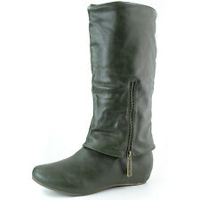 Round Toe Faux Leather Wedge Mid Calf Knee High Boots Women Dress Comfort Shoes