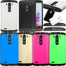for LG G3 rugged hybrid 2 layers hard pc rubber shock proof case cover guard //