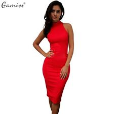 Gamiss New Spring Summer Fashion Turtleneck Sleeveless Elegant Pencil Dress Wome