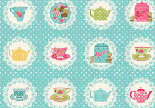 Chintzy Tea Party Doilies Quilt Fabric Henley Studio Makower UK Premium Cotton