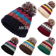 Unisex Womens Mens Cable Knitted Bobble Pom Wooly Winter Warm Ski Beanie Hat Cap