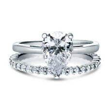 BERRICLE Sterling Silver Pear CZ Solitaire Engagement Ring Set 2.355 Carat