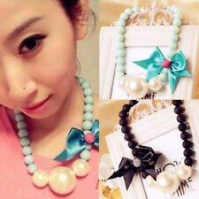 New Fashion Retro Bow Girl's Chunky Party Bib Statement Necklace Pearl Pendant