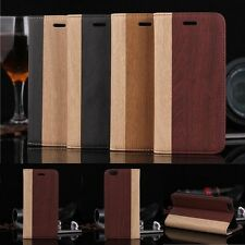 Luxury Wood Grain PU Leather Flip Card Wallet Case Cover For iPhone 6/6S Plus