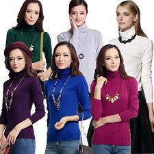 Hot Womens Solid Color Vertical Stripes Long Sleeve Turtleneck Sweater Blouse
