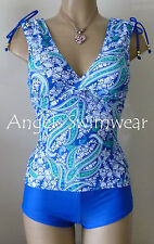 RESORT FLORAL TANKINI SET SIZE 8 PADDED TOP/SHORT BLUE/GREEN/WHITE NEW