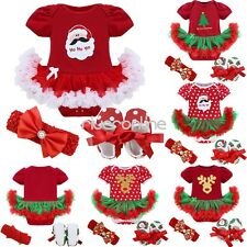 3PCS My First Christmas Baby Girls Infant Outfit Set Costume Tutu Dress Clothes