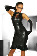 SeXy WetLook Dress Dominatrix Fetish Mini Lacing Clubwear knee length Gothic