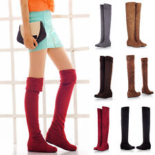 Winter Spring Over Knee Boots Flat Slip-on Lace-up Suede Long Shoes Women