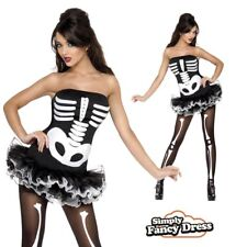 Adult Ladies Sexy Skeleton Halloween Fancy Dress Outfit Costume