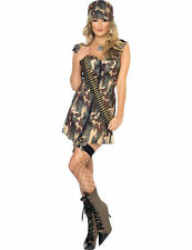 Ladies Sexy Army Girl Camo Soldier Military Uniform Fancy Dress Costume