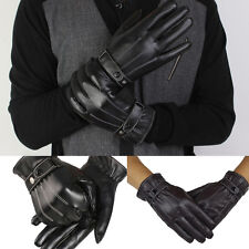 Fashion Mens Luxury PU Leather Super Driving Warm Winter Gloves Cashmere Mittens
