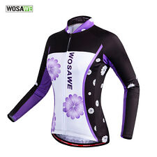 2017 Womens Long Sleeve Cycling Jerseys Top Bicycle Wear Biking Clothing Purple